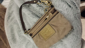 Authentic Brown and Gold Coach Wristlet