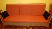Wicker couch made with real cedar wood (red-orange color)