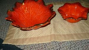 "VINTAGE SET OF 2 ""CALIFORNIA POTTERY ORANGE MAPLE LEAF BOWLS"" A+ Kitchener / Waterloo Kitchener Area image 5"