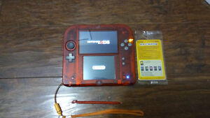 OBO Great Condition Crystal Red 2DS with Super Smash Bros.