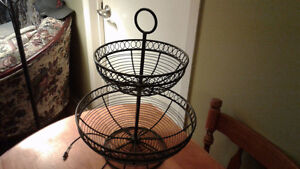 Beautiful black 2 tier fruit basket wrought iron great condition