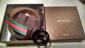Brand New GUCCI Brown Red Green Stripe Real Leather Belt