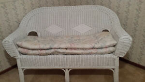 Wicker Bench with Cushions