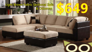 Large fabric sectional sofa with ottoman on sale!