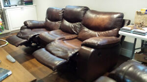 LEATHER 3 PIECE SOFA AND CHAIR SET