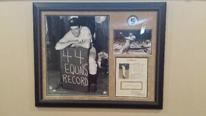 Joe Dimaggio Signed and Framed Stat Sheet & Photo's