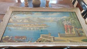 Mediterranean scenery w victorian style frame