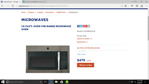 New Over the range microwave oven (slate)
