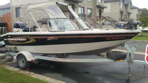 2008 Princecraft Pro 164 SS with 75 HP 4 stroke Mercury and 9.9