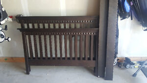 FOR SALE - SOLID DARK WOOD DOUBLE BED FRAME & MATCHING DRESSER