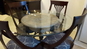 Glass Dining Table on Rod Iron and Faux Stone Base & 4 Chairs