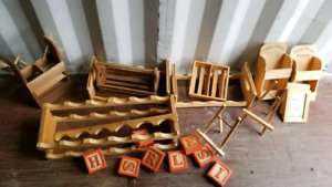 lot of wooden shelves. blocks  pic stands