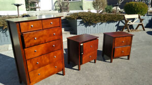 Double bed frame, dresser and side tables