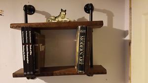 Multi-Use Shelf  made from reclaimed ash and steel pipe