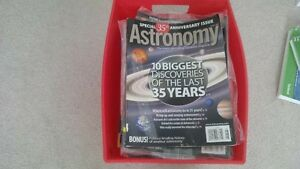 Astronomy magazines 2006-2012 with basket