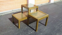 3pc Vintage RETRO Solid Oak & Rattan Under Glass Coffee Tabl Set