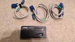 Starview SV411 4 ports KVM Switch /w 3 cables