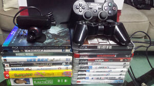 PS 3 160 GIG BUNDLE  10 games 2 controllers 2 blu rays AND MORE
