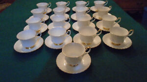 Household White and Gold Royal Albert Cup & Saucers ( 9 ) - $180