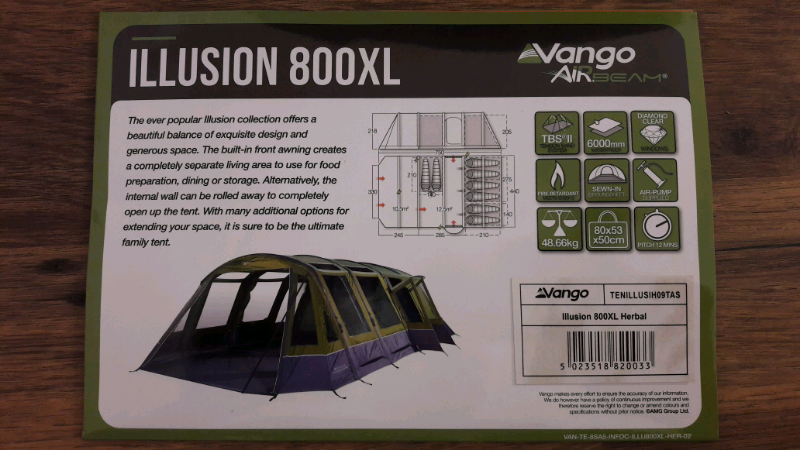 Vango illusion 800xl 2018 airbeam tent - New  | in Portsmouth, Hampshire |  Gumtree