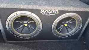 Kicker subs and amp. W/ bass booster and wires