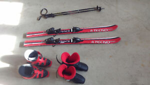 kids ski (120cm), boots(250mm&265mm) and pole