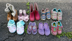Girls Shoes, Sandals, Boots, and Slippers size 8-9