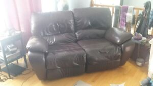 Loveseat - Brown Real Leather