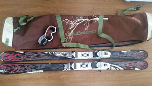 Skis, Ski bag, and Goggles