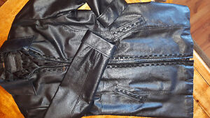 Woman black leather coat