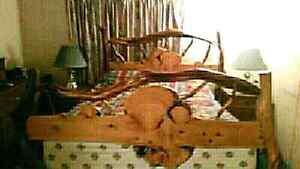 Handmade driftwood bed
