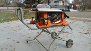 """Ridgid 10"""" Table Saw with stand"""