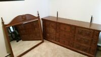 Solid Wood 9 Drawer Dresser with Matching Mirror Forsale