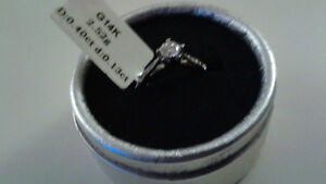 14K White Gold Filled Solitaire Sapphire Ring Size 7 - New