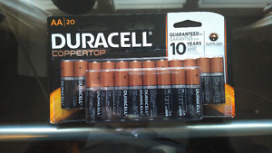 20 AA Duracell Coppertop Batteries Guranteed for 10 years