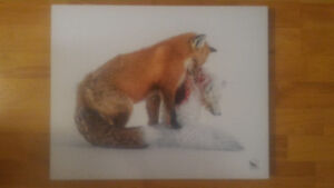 HD Metal Printing Painting of a Fox