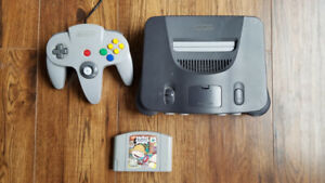 N64 console with controller and game