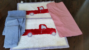 Pottery Barn Kids Truck Bath Mats (2) Towels and Shower Curtain