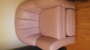 Beautiful faux leather chair and ottoman