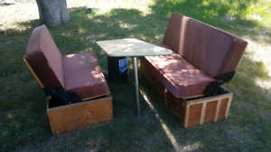 Flip down camper table and seats