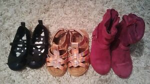 3 pairs girls shoes size 6