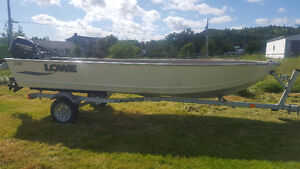 16 ft Lowe Aluminum Boat with Motor and Trailer