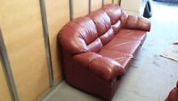 Beautiful Burgundy 3 Seater Leather Couch. Can deliver.