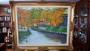 18 x 24 Oil on board landscape painting in a beautiful golden or
