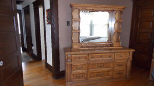 3 Pieces-Solid Oak and Veneer Dresser and Mirror–  Honey Colour