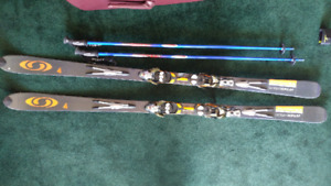 Salomon scream 10 pilot skis and bindings.
