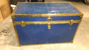 Antique Blue Metal Cedar Lined Steam Trunk
