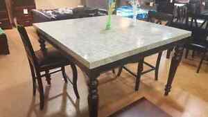 solid Marble pub table with 4 chairs