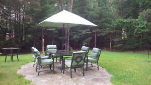 NEW PRICE - Patio Set - Eight Chairs, Two Tables, Umbrella