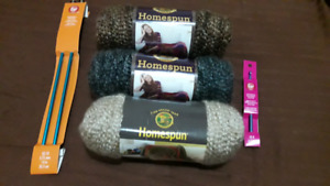 Full set of 3 yarns with knitting needles and crochet hook
